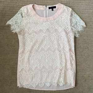 White & Pink Lace Blouse